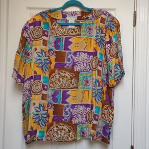Vintage August Max Woman 90s Printed Top Plus 2X